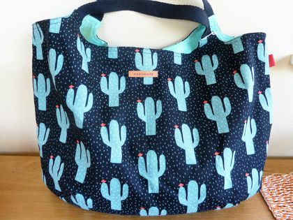 Cactus on Black - Cotton Duck Tote