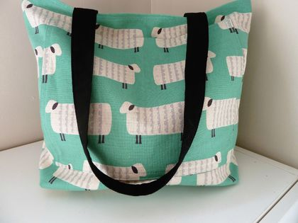 Sheep In Mint - Linen Tote   ***SALE***