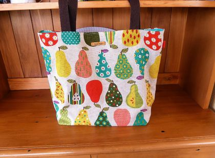 Pears in Multi  -  Cotton Linen Blend Tote