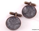 Glass and paper bronze cuff links