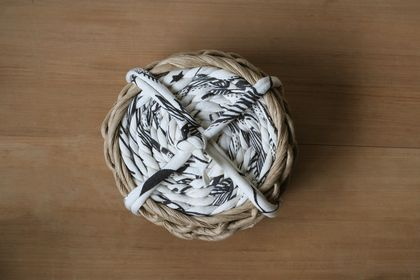 Handwoven Paper Twine & Repurposed Fabric Coaster Set