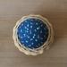 Handwoven Cane & Vintage Fabric Pincushion