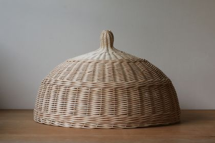 Handwoven Natural Rattan Cloche Food Cover - Large