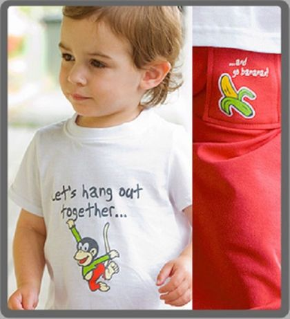 Baby cotton t-shirt and pants - Funky Monkey 18-24 months