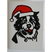 Pack of 4 Christmas Cards. Santa Cat and Santa Dog.