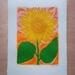 Sunset Flower. Linocut Print on Mulberry Paper.