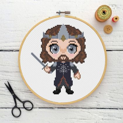 King Aragorn Cross Stitch Kit  |  Lord of the Rings