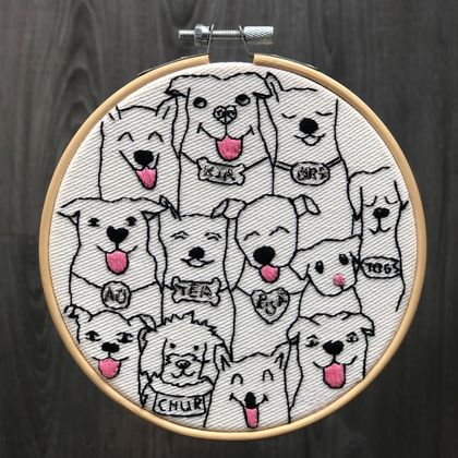 Kiwi Dogs Embroidery