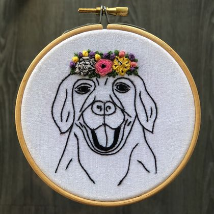 Labrador with Flower Crown - Embroidery