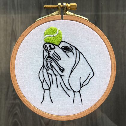 Beagle with a Tennis Ball - Embroidery