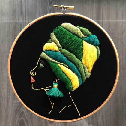 African Woman with Green Turban - Embroidery