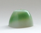 Round green and white striped candle