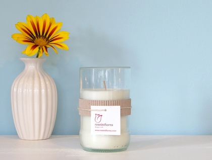 *SALE* Patchouli scented soy candle in recycled beer bottle glass