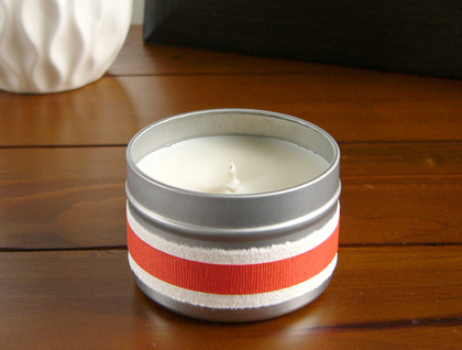 Carnation scented medium soy candle in travel tin