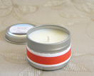 Small essential oil scented soy candle in travel tin – Geranium or Patchouli