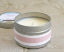 Medium essential oil scented soy candle in travel tin - Geranium or Patchouli