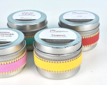 Recycled scented soy tin candle – small