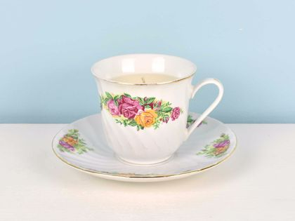 Pink peony scented soy teacup candle